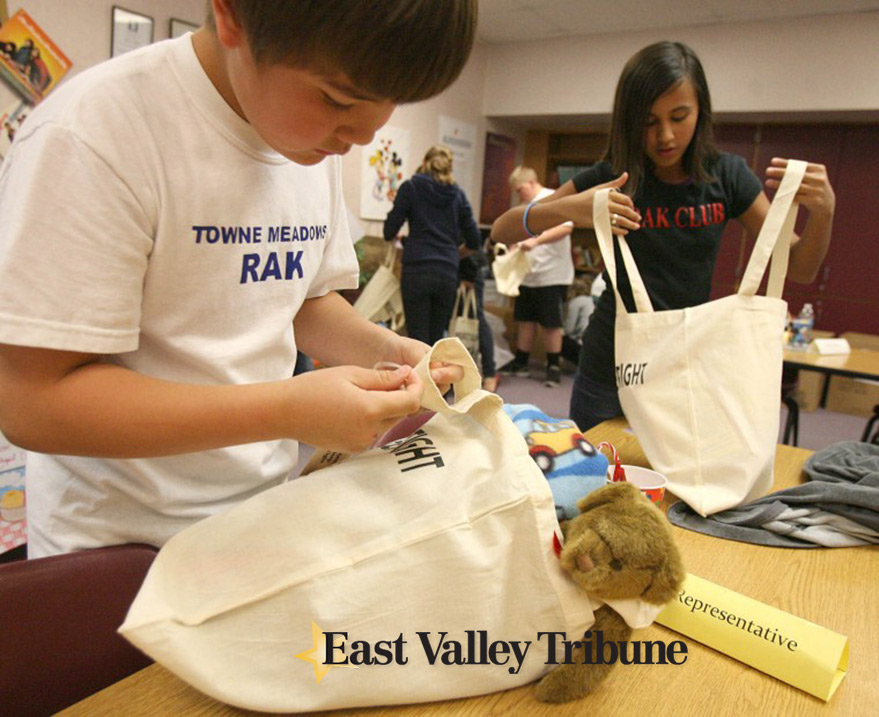 Alec and Alexis assemble Sleep tight totes east-valley-tribune article